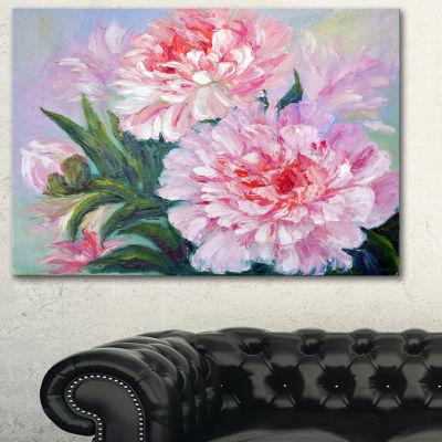 Designart Full Blown Peonies Floral Art Canvas Print