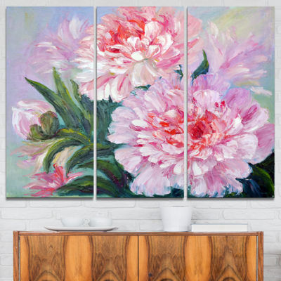 Designart Full Blown Peonies Floral Art Canvas Print - 3 Panels