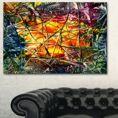Designart Amber Abstract Abstract Canvas Artwork -3 Panels