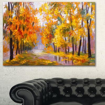 Designart Full Of Fallen Leaves Landscape Art Print Canvas - 3 Panels
