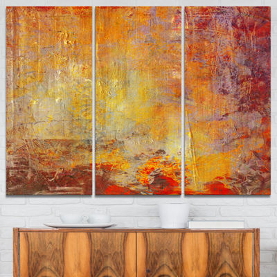 Designart Ambient Canvas Grunge Abstract Canvas Art Print - 3 Panels