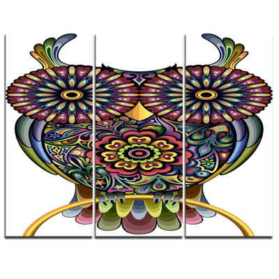 Designart Funny Owl Animal Canvas Art Print - 3 Panels