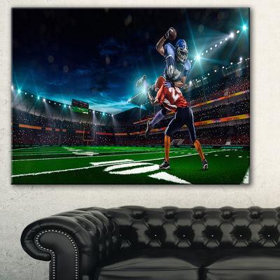 Designart American Football Player Sport Canvas Art Print