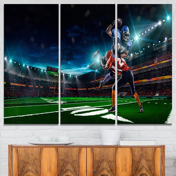 Designart American Football Player Sport Canvas Art Print - 3 Panels