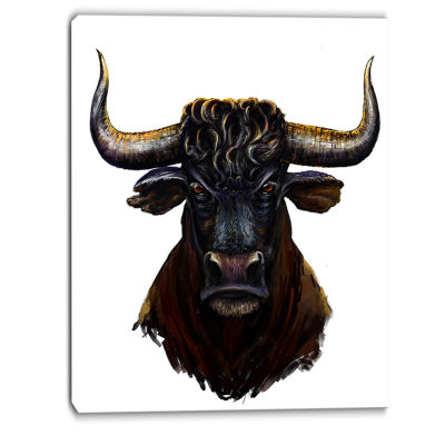 Designart Furious Bull Illustration Art Animal Canvas Art Print