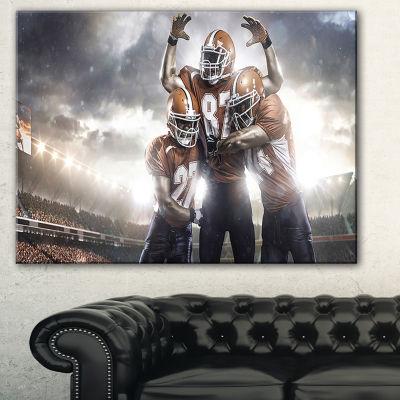 Designart American Football Players On Stadium Sport Canvas Art Print
