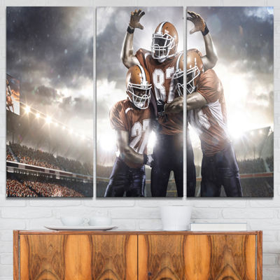 Designart American Football Players On Stadium Sport Canvas Art Print - 3 Panels