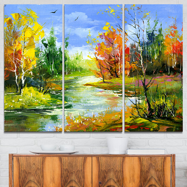 Designart Fusion Of Autumn Shades Landscape Art Print Canvas - 3 Panels