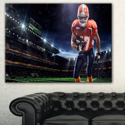Designart American Footballer In Action On StadiumSport Canvas Art Print - 3 Panels