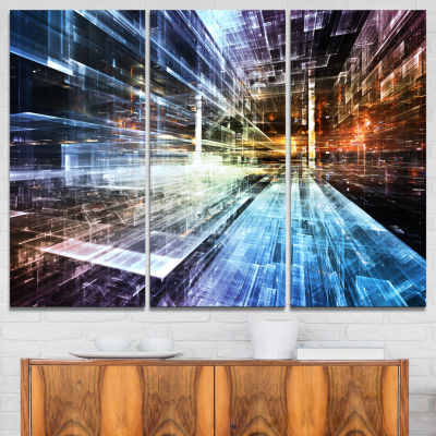 Designart Future Industry Abstract Canvas Artwork- 3 Panels