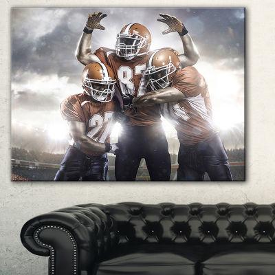 Designart American Footballer In Action Sport Canvas Art Print - 3 Panels