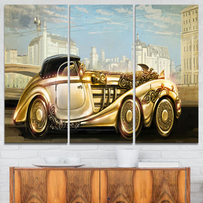 Designart Futuristic Gold Machine Abstract CanvasArt Print - 3 Panels