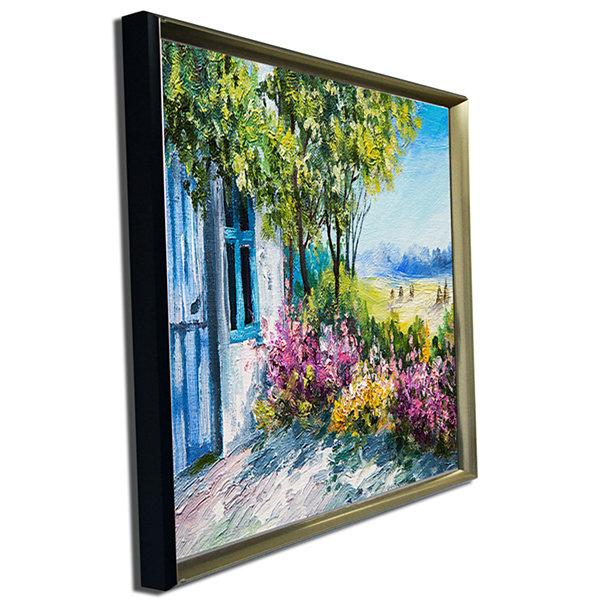 Designart Garden Near The House Landscape Art Print Canvas