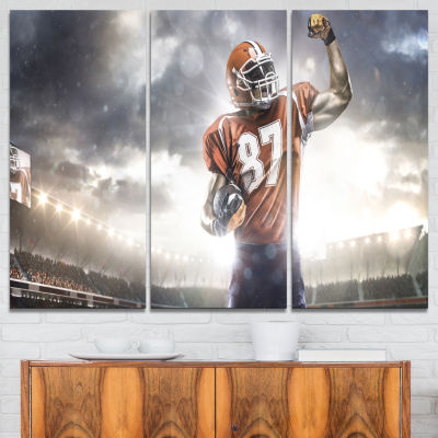 Designart American Footballer On Stadium Sport Canvas Art Print - 3 Panels