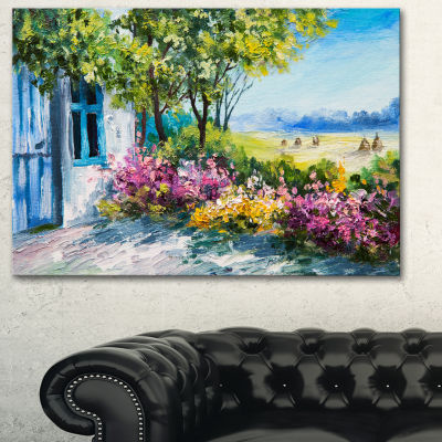Designart Garden Near The House Landscape Art Print Canvas - 3 Panels