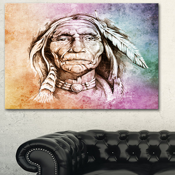 Designart American Indian Head Portrait Canvas ArtPrint