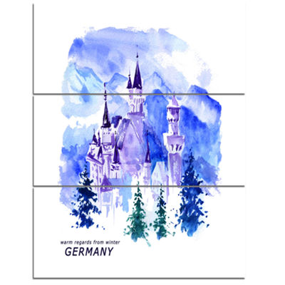 Designart Germany Watercolor Landscape CityscapePainting Canvas Print - 3 Panels