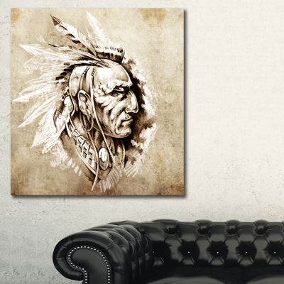 Designart American Indian Illustration Portrait Canvas Print - 3 Panels