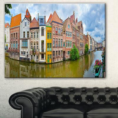Designart Ghent Belgium Landscape Photography Canvas Art Print - 3 Panels