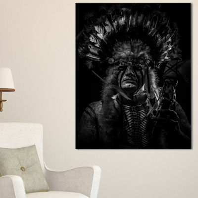 Designart American Indian Tribal Chief Abstract Portrait Canvas Print - 3 Panels
