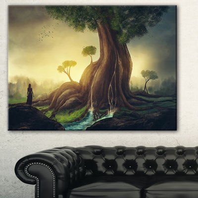 Designart Giant Tree With Woman Abstract Print OnCanvas - 3 Panels
