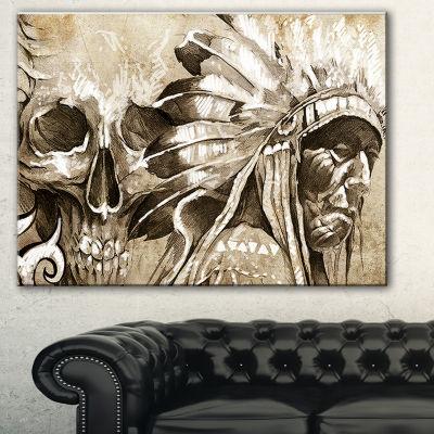 Design Art American Indian Warrior Tattoo Sketch Portrait Canvas Print - 3 Panels