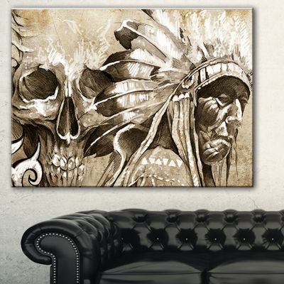 Designart American Indian Warrior Tattoo Sketch Portrait Canvas Print - 3 Panels
