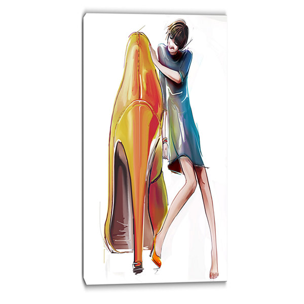 Designart Girl In Love With High Heel Shoes Abstract Canvas Art Print