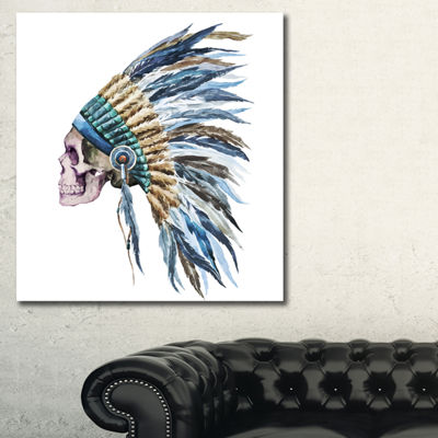 Designart American Native Hat And Skull AbstractCanvas Art Print - 3 Panels