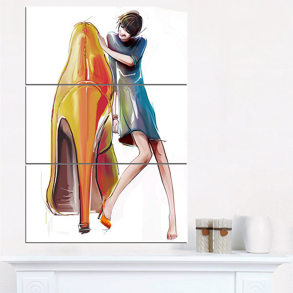 Designart Girl In Love With High Heel Shoes Abstract Canvas Art Print - 3 Panels