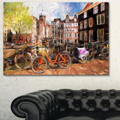Designart Amsterdam City Artwork Landscape CanvasArt Print - 3 Panels