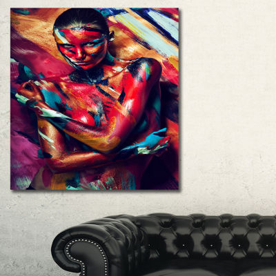 Designart Girl In Paint Portrait Contemporary Canvas Art Print - 3 Panels
