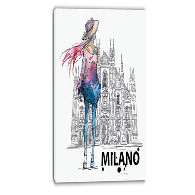 Designart Girl On A Milano Duomo Contemporary Canvas Art Print