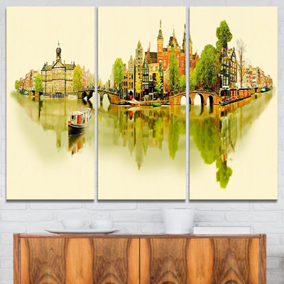 Designart Amsterdam Panoramic View Cityscape Watercolor Canvas Print - 3 Panels