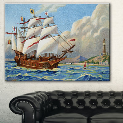 Designart Ancient Boat Drifting In Sea Seascape Canvas Art Print