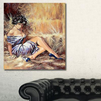 Designart Girl Setting On Floor Portrait Canvas Art Print