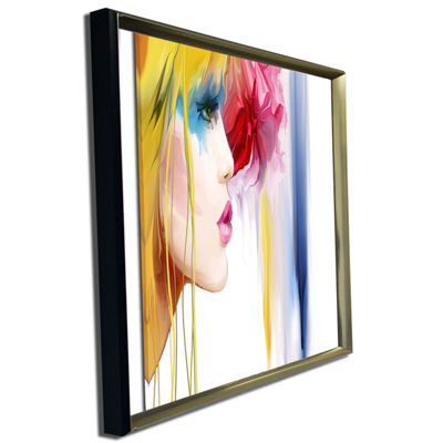 Designart Girl With Colorful Hair Portrait CanvasArt Print
