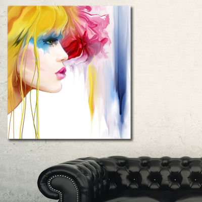 Designart Girl With Colorful Hair Portrait CanvasArt Print - 3 Panels