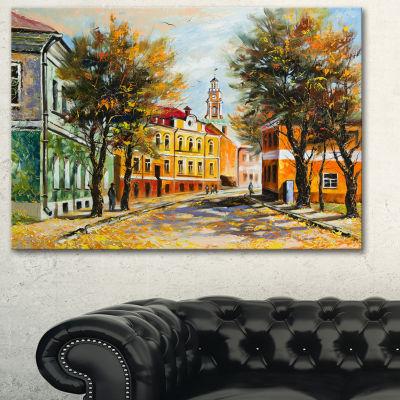 Designart Ancient Vitebsk In Autumn Landscape ArtPrint Canvas - 3 Panels