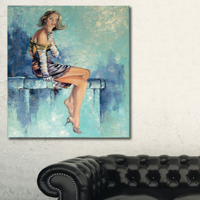 Designart Girl With Glass Portrait Canvas Art Print - 3 Panels