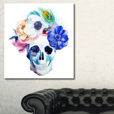 Designart Anemones And Scull Floral Art Canvas Print - 3 Panels