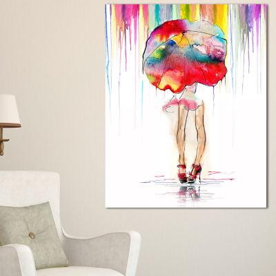 Designart Girl With Red Umbrella Digital Art Portrait Canvas Print