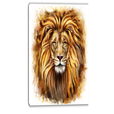 Designart Angry King Of Forest Animal Art On Canvas