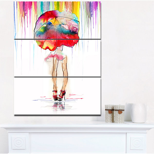 Designart Girl With Red Umbrella Digital Art Portrait Canvas Print - 3 Panels