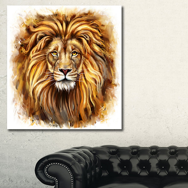 Designart Angry King Of Forest Animal Art On Canvas - 3 Panels