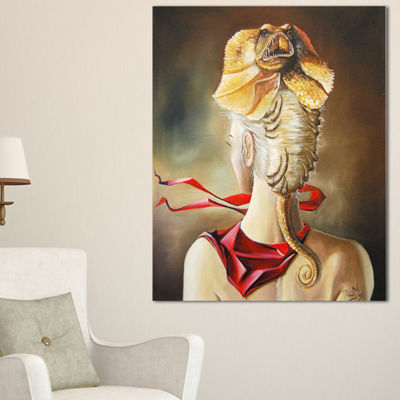 Designart Girl With Surreal Hat Abstract PortraitCanvas Print