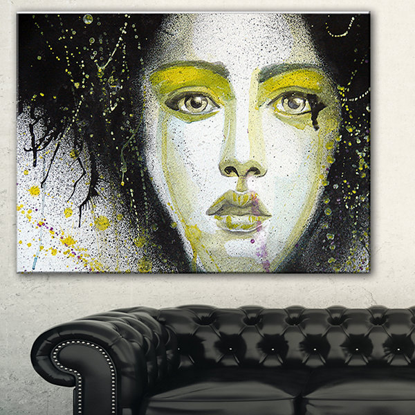 Designart Girl With Yellow Eye Line Abstract Portrait Canvas Print