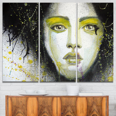 Designart Girl With Yellow Eye Line Abstract Portrait Canvas Print - 3 Panels