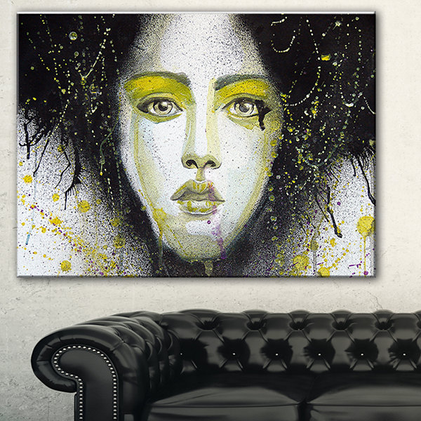 Designart Girl With Yellow Eye Line Large AbstractPortrait Canvas Print - 3 Panels