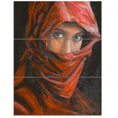 Designart Arabian Woman In Hijab Portrait CanvasArt Print - 3 Panels